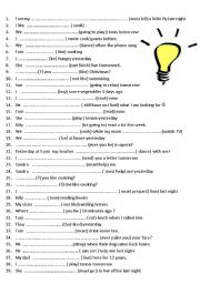 English Worksheet: 7 pages / 285 sentences revision mix tenses elementary / pre intermediate