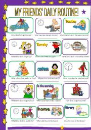 English Worksheets: Time and routines 2