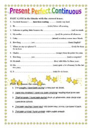 English teaching worksheets: Present perfect continuous/progressive