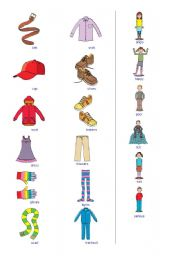 English Worksheet: Clothes and adjectives pictionary