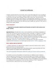 English Worksheets: cognitive appraisal psychology