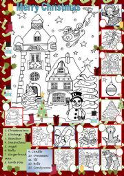 Christmas coloring and matching