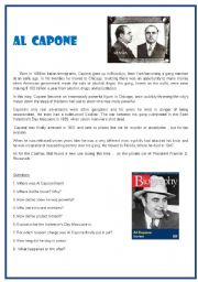 English Worksheets: Reading Comprehension N�1. AL CAPONE. Questions with KEYS.