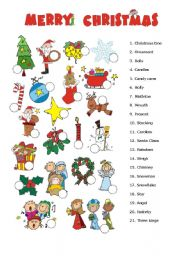 English Worksheet: Christmas picture dictionary