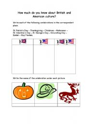 English Worksheet: British and American culture
