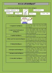 English Worksheets: are we all intelligent?