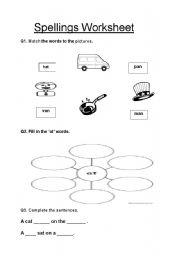 English Worksheets: spellings worksheet
