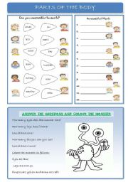 English Worksheet: Parts of the Body: Unscramble, write, answer the questions and colour!