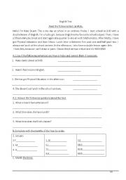 English Worksheet: time telling and question words