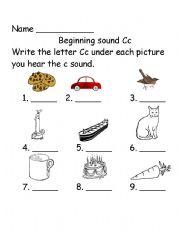English Worksheet: Beginning Sounds Cc