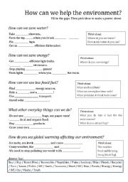 English Worksheet: Global Warming: How Can We Save the Environment?
