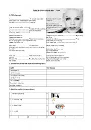 English Worksheet: Please don�t leave me - SONG + Exercises- Pink- Present simple