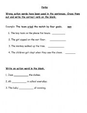 English worksheet: Action words