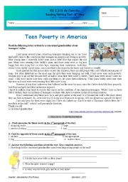 English Worksheets: Test - teen Poverty in America