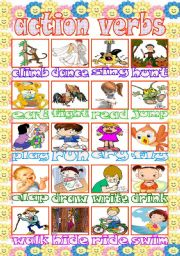 English Worksheet: action verbs pictionary