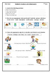 English Worksheets: Aly�s friend part 2