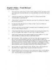 English Worksheets: Angela�s Ashes