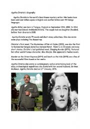 English Worksheet: Agatha Christie Reading Comprehension