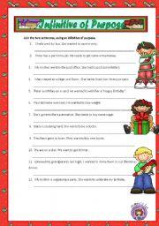 English Worksheet: INFINITIVE OF PURPOSE + KEY