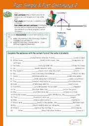 English Worksheet:  Past Simple & Past Continuous (B&W version + keys included)