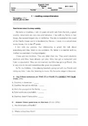 English Worksheets: Reading comprehension about family