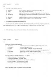 English Worksheets: Test in writing