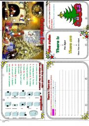 English Worksheets: Christmas Eve minibook : Christmas+there is/there are + prepositions.