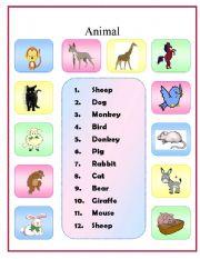 English Worksheets: Animal matching exercise