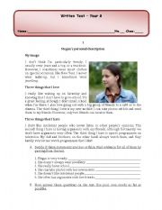 English worksheet: test personal description/ present simple/present continuous/past simple