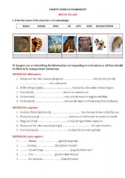 PRESENT CONTINUOUS + MOVIE WORKSHEET ICE AGE