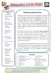English Worksheets: Bilingualism and the Brain