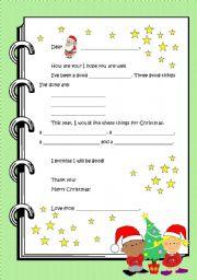 English Worksheet: Letter to Santa Claus