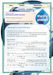 English Worksheet: video activity- Water Planet