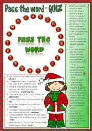 English Worksheet: Pass the word - Christmas quiz