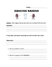 English Worksheets: Dancing Raisin Lab