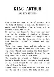 A LEGEND: King Arthur and his knights (shorter form)