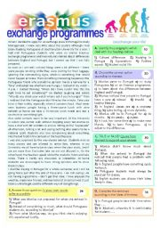 English Worksheet: ERASMUS EXCHANGE PROGRAMMES - 10th grade 2pageTEST + key