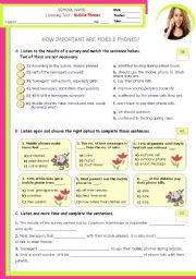 English Worksheet: How important are mobile phones?  -  Listening Test