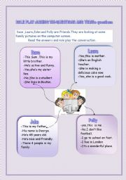 English Worksheets: Role play:Asking wh-questions or Yes/No questions(+ key)