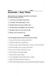 English worksheets: Double Negatives