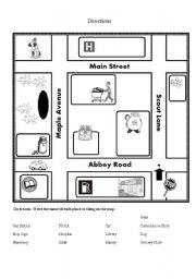 directions with map esl worksheet by melester. Black Bedroom Furniture Sets. Home Design Ideas