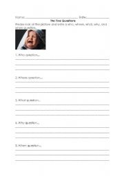 English Worksheets: Writing 5W Questions - Worksheet 1