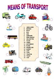 english teaching worksheets means of transport