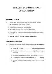 English Worksheet: BRITISH CULTURE AND CIVILISATION 2