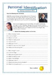 English Worksheets: 5th/6th graders reading comprehension practice-Personal identification.