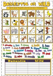DOMESTIC or WILD ANIMALS (B&W + KEY) - ESL worksheet by mada_1