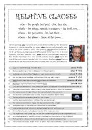 English Worksheets: RELATIVE CLAUSES - using who, whose, which, where