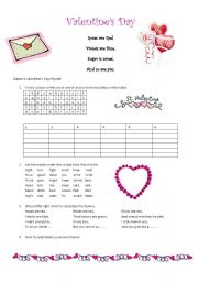 English Worksheet: Valentine�s Day Roses are Red Rhymes