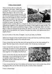 English Worksheet: Martin Luther King ´I have a dream´ extract