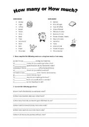 english worksheets how many or how much. Black Bedroom Furniture Sets. Home Design Ideas